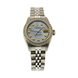 Ladies Rolex Stainless Steel Datejust Wristwatch with MOP Dial & Diamond Bezel