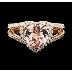 14KT Rose Gold 2.10ct Morganite and Diamond Ring