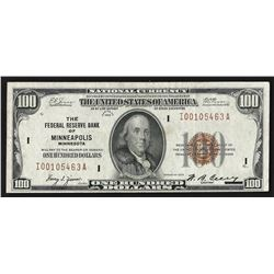1929 $100 Federal Reserve Bank Note of Minneapolis