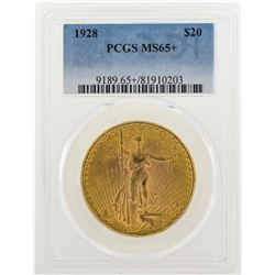 1928 $20 St. Gaudens Double Eagle Gold Coin PCGS MS65+