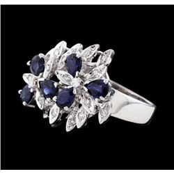 14KT White Gold 1.80ctw Blue Sapphire and Diamond Ring
