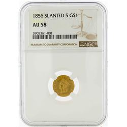 1856 Slanted 5 $1 Indian Princess Head Gold Dollar Coin NGC AU58