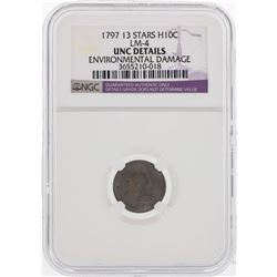 1797 13 Stars Draped Bust Half Dime Coin NGC Environmental Damage
