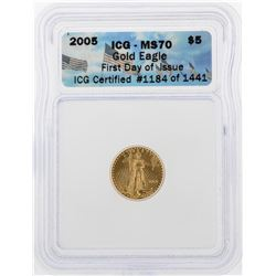 2005 $5 American Gold Eagle Coin ICG MS70
