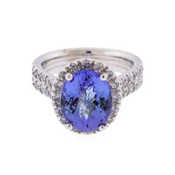 14K White Gold 3.90ct Tanzanite and Diamond Ring