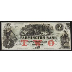 1800's $2 The Farmington Bank Obsolete Bank Note