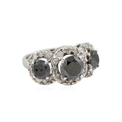 14KT White Gold 4.95ctw Fancy Black Diamond Ring