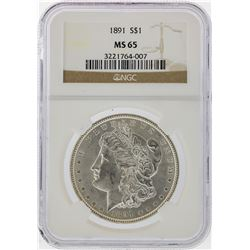 1891 $1 Morgan Silver Dollar Coin NGC Graded MS65