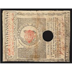 May 5, 1780 $1 Stats of Massachusetts-Bay Spanish Milled Colonial Currency Note