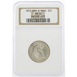 1853 Arrows and Rays Silver Quarter Coin NGC MS65