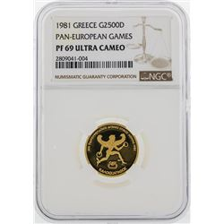 1981 Greece $2500D Pan European Games Gold Coin NGC PF69 Ultra Cameo