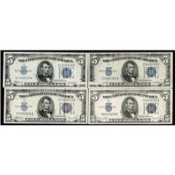 Lot of (4) 1934/A/C/D $5 Silver Certificate Notes