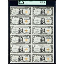 1935A $1 North Africa Silver Certificate Uncut Sheet PCGS Very Choice New 64PPQ