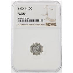 1873 Seated Liberty Half Dime Coin NGC AU55