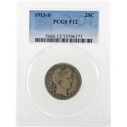 1913-S Barber Quarter Dollar Coin PCGS F12