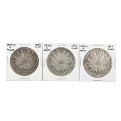 Set of (3) Mexico 8 Reales Silver Coins