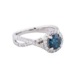 14KT White Gold 1.83ctw Fancy Greenish Blue Diamond Ring