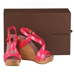 Authentic Louis Vuitton Vernis  Wedges Pink Rose Pop Shoes