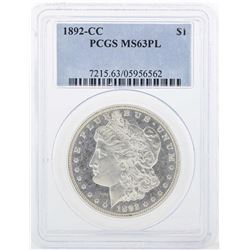 1892-CC $1 Morgan Silver Dollar Coin PCGS MS63PL