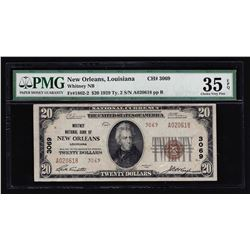 1929 $20 National Bank of New Orleans LA Currency Note PMG Choice VF 35EPQ