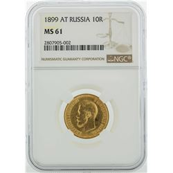 1899-AT Russia 10 Roubles Gold Coin NGC MS61