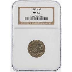 1929-S Buffalo Nickel Coin PCGS MS64