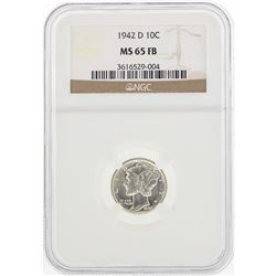 1942-D Mercury Silver Dime Coin NGC MS65 FB