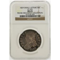 1829 Capped Bust Half Dollar O-103 Small Letter Coin NGC MS65
