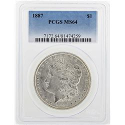 1887 $1 Morgan Silver Dollar Coin PCGS MS64