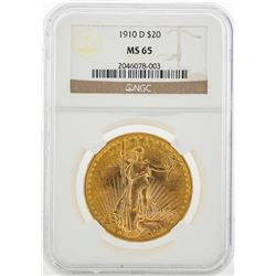 1910-D $20 St. Gaudens Double Eagle Gold Coin PCGS MS65