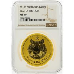 2010P $100 Australia Lunar Year of the Tiger Gold Coin NGC MS70