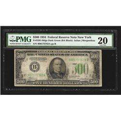1934 $500 Federal Reserve Note New York PMG VF20