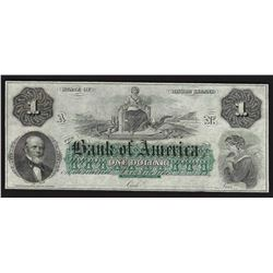 1860s $1 Bank of America Rhode Island Obsolete Bank Note