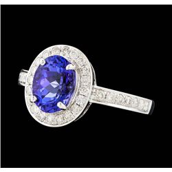 14KT White Gold 1.76ct Tanzanite and Diamond Ring
