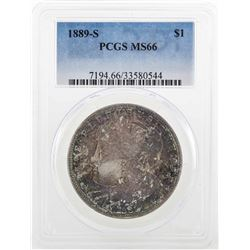 1889-S $1 Morgan Silver Dollar Coin PCGS MS66