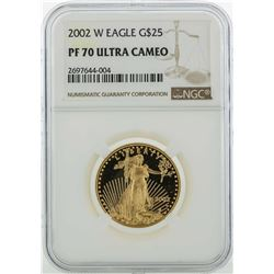 2002-W $25 American Gold Eagle Coin NGC PF70 Ultra Cameo