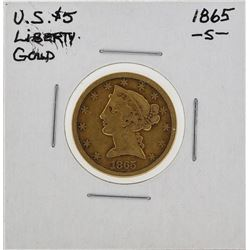1865-S $5 Liberty Head Half Eagle Gold Coin
