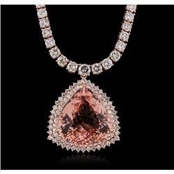 14KT Rose Gold GIA Certified 42.81ct Morganite and Diamond Necklace