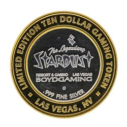 .999 Silver Stardust Resort Las Vegas, Nevada $10 Casino Limted Edition Gaming T