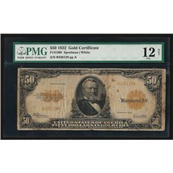 1922 $50 Large Size Gold Certificate PMG F12 Net