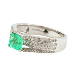 14KT White Gold 0.84ct Emerald and Diamond Ring