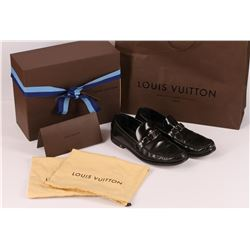Authentic Louis Vuitton Mens Black Leather Dress Shoes