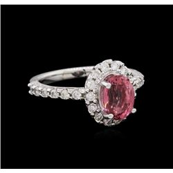 14KT White Gold 1.70ct Pink Tourmaline and Diamond Ring