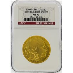2006 $50 American Buffalo Gold Coin First Strike NGC Graded MS70