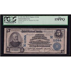 1902 $5 Plain Back National Bank & Trust of Kansas City Note PCGS F 15PPQ