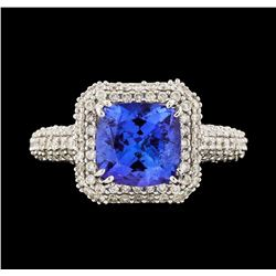 14KT White Gold 2.16ct Tanzanite and Diamond Ring