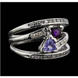 10KT White Gold 0.34ct Tanzanite, Amethyst and Diamond Ring
