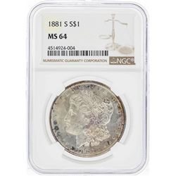 1881-S $1 Morgan Silver Dollar Coin w/ Nice Toning NGC MS64