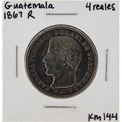 1867R Guatemala 4 Reales Silver Coin KM 144