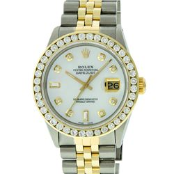Rolex Mens Two Tone 14KT Yellow Gold 3.25ctw Diamond Datejust Wristwatch